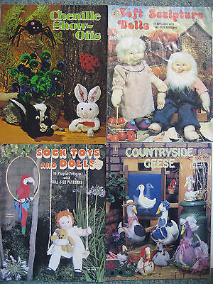 Lot of 4 Pattern Booklets Soft Sculpture Sock Dolls/Toys/Geese w/Full Patterns