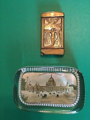 Original Authentic 1901 Pan American Expo Buffalo NY Matchsafe and Paperweight