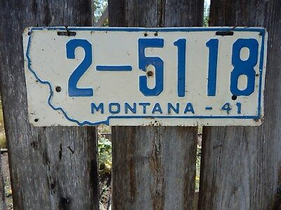 Montana 1941 Passenger Car License Plate From Western Mt