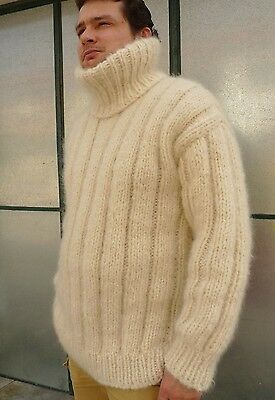 95ec7ff25a Ivory Longhair mohair sweater Pullover Fuzzy M L for Man by LanaKnittings