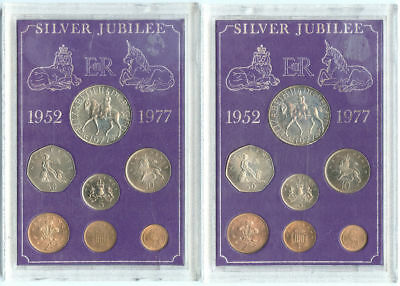 Lot of 2 Great Britain Silver Jubilee 7 Coin Sets