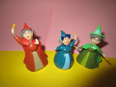 DISNEY Sleeping Beauty PVC Figures: 3 FAIRY GODMOTHERS  Cake Toppers TOYS
