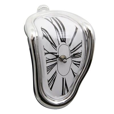 Salvador Dali Style Melting Wall Clock Kitchen, Home, Office Silver frame P I1K1