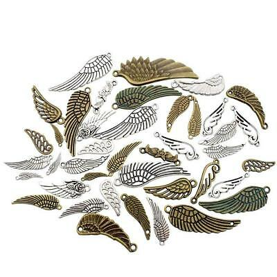 Antique Silver Bronze Bird Wings Charms DIY Pendant Crafts Jewelry Making M