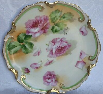 Coronet Limoges France Hand Painted Plate Heavy Gold & Roses  Signed Fierol