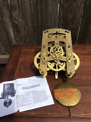 Antique Seth Thomas 30 day Time Only Wall Clock Movement, w/  partial pendulum