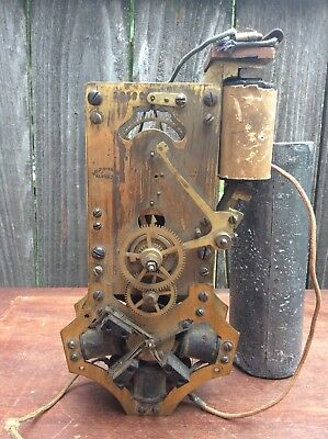 Early Antique Rotary Battery Electric Clock Movement by Self Winding Clock Co.
