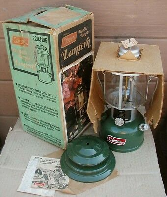 Vtg 1976 COLEMAN 220J195 GREEN Camping 2-Mantle LANTERN~NEVER USED!~MINT in BOX