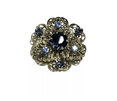 Beautiful Vintage Filigree Blue Rhinestone CZECHOSLOVAKIA Pin Brooch