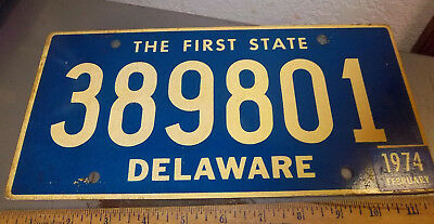 Delaware License Plate, 1974, the first state, 389801, heavy duty plate, nice