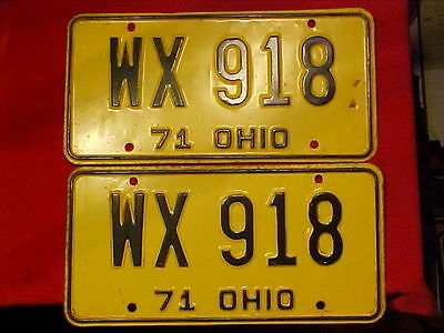 Ohio License Expired Plates 1971 Black On Yellow Classic Car Wx918