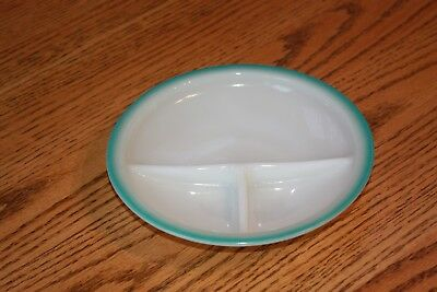 Vintage Fire King Child's Divided Dish Bowl White/Ivory Turquoise Blue Trim