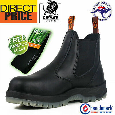 Canura Work Boots Elastic Sided Safety Steel Toe Anti Penetration Black Leather