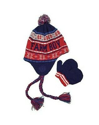 Farm Boy Red And Blue Sherpa Hat And Mittens Set Size ML NWT