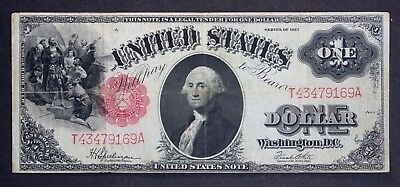 "1917 $1 Dollar Red Seal U.s. Legal Tender Note Large Size Currency ""sawhorse"""