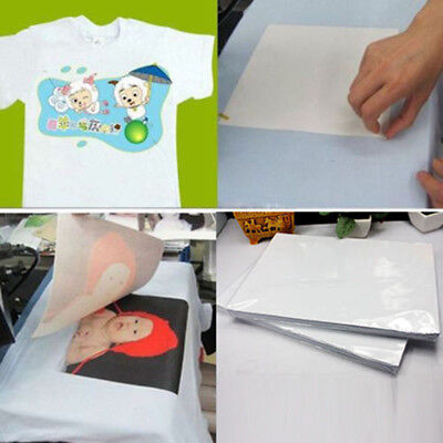 2Pcs T Shirt A4 Transfer Paper Iron-on Heat Press Light Fabrics Inkjet Print-Hot