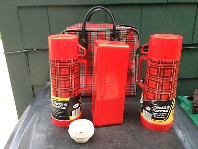 Vintage ** Never Used ** W/labels Plaid Thermos PicnicSet Red Black Collector