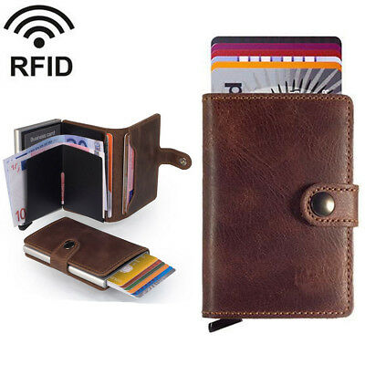 Genuine/Faux Leather Credit Card Holder RFID Blocking Pop-up Wallet Money UK