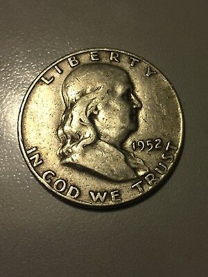 1952 P Franklin Half Dollar, 90% Silver, Good+ Condition