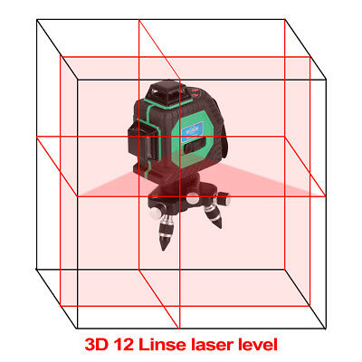 3D 12 Line 360° Lasr Auto Self Leveling Vertical Horizontal Level Cros Green