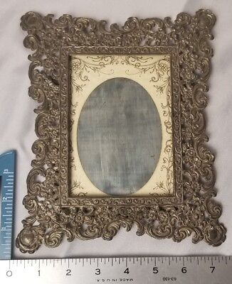 "Antique Cabinet Card Photo Frame Victorian Ornate Metal Tin Behind Glass 9""x7.5"""