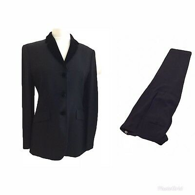 EMPORIO ARMANI BLACK FORMAL SUIT WITH VELVET COLLAR ITALY 42, Excellent!