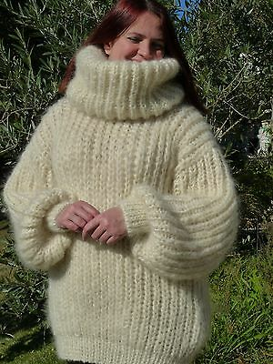 7b0ad7e330 Ivory Longhair mohair Sweater Extra Chunky T-neck removable by LanaKnittings