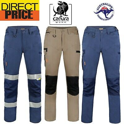 Canura Mens Cargo Work Pants Flexible Durable 8 Pockets Cotton Elastic side Tape