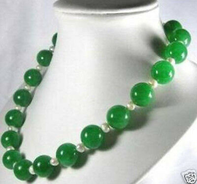 """new 12mm emerald Round Bead Necklace akoya pear 6-7mm 18"""""""