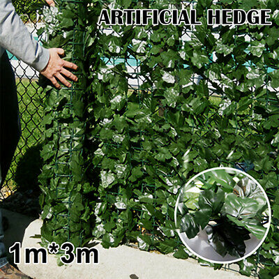 Artificial Green Ivy Leaf Privacy Hedge Screening Garden Fence Panels 3m x 1m UK