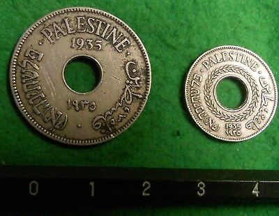 Two 1935 British Palestine coins. 10 Mils & 5 Mils.