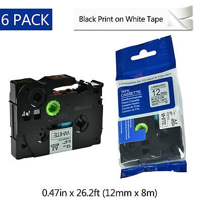 "6PK Black on White TZ-231 TZe231 Label Tape for Brother P-touch PT-310 1/2"" 12mm"