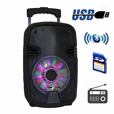 "Befree Sound 8"" Bluetooth Portable Dj Pa Party Speaker Usb Sd Lights Remote New"