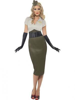 WW2 Army Pin Up Girl Costume Womens Ladies 1940s Uniform Fancy Dress Outfit
