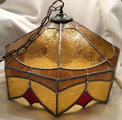 Vintage STAINED GLASS Leaded Glass Tiffany Style Hanging Swag Lamp Light - Works