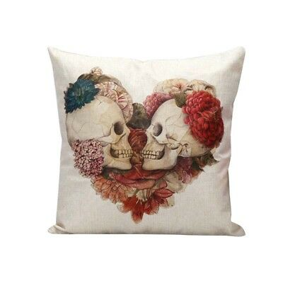 Decorative Linen Cushion Cover Vintage Skull Cushion Covers for Sofa Bed D5 V4K3