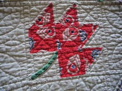 Antique 1939 Signed Hand Stitched Feed Sack Maple Leaf Quilt Fall Colors