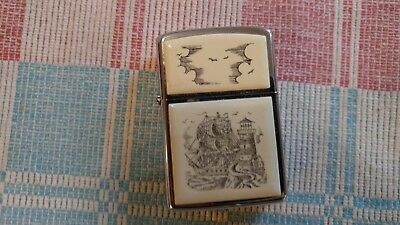 Vintage ZIPPO Lighter Etched Lighthouse Sailing Ship Scene 1985 Clean Condition