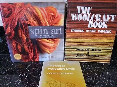 Spin art, woolcraft, spinning dying and weaving, the use of vegitable dies books