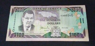 Bank Of Jamaica $100 Note 15.1.2004