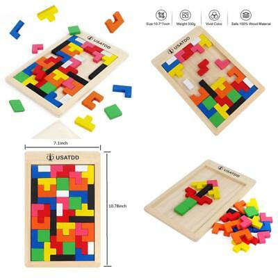 Wooden Tetris Puzzle Tangram Jigsaw Brain Teasers Toy Building Blocks Game New