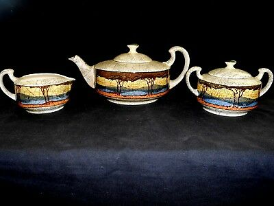 Royal Doulton Deadwood Crackle Pattern Teapot Creamer & Covered Sugar VG w1