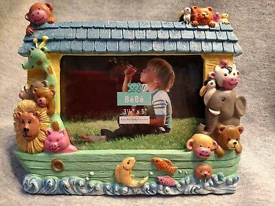 """BeBe Noah's Ark Resin Baby's Nursery Picture Frame ~ Holds 3 1/2"""" x 5"""" Picture"""
