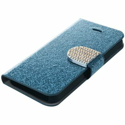 Crystal Diamond Glitter Bling Flip Wallet Stand Case Cover For Iphone 5 5S D7Q2