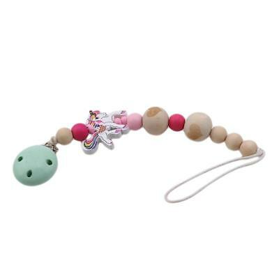 Natural Wooden Silicone Bead Pacifier Clip Holder Baby Teether Accessories J