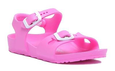 Birkenstock Rio Eva Kids Faux Leather Neon Pink Sandals UK Size 10 - 2 3b4ae49ca53