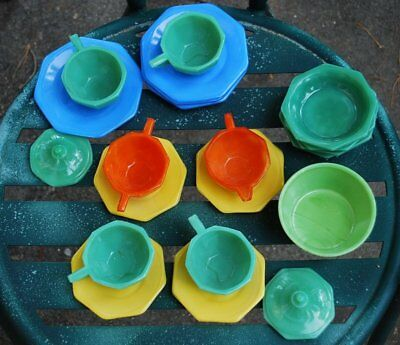 1930 Deco Colorful Akro Agate Play Time Childrens Dishes 21 Pieces