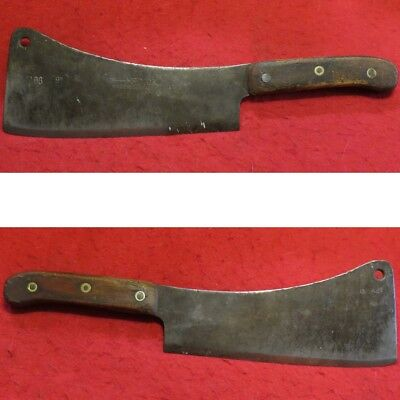 Vintage F Dick Meat Cleaver 9 Inch Blade, marked TO 96 and 12 x 27, Wood Handle