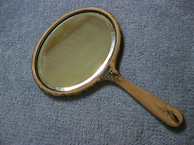 Vintage Wooden Hand Mirror -Painted Black-Long Handle, bevelled glass