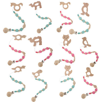 Wooden Bead Teething Soother Pacifier Dummy Clip Chain Baby Gift